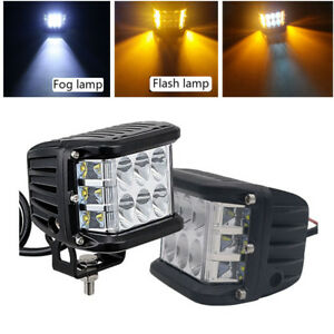 2x 4 Inch 45w Side Shooter Pods Combo Led Work Light Strobe Lamp White