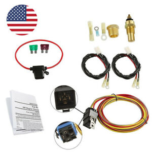 New Dual Electric Cooling Fan Wiring Install Kit 185 165 Thermostat 50 Amp Relay