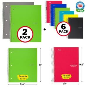 Five Star 5 subject College Ruled Spiral Notebook 2 Pack And 1 Subject 6 Pcs Set