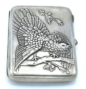 Russian 875 Hallmarked Silver Cigarette Case Bird Gorgeous