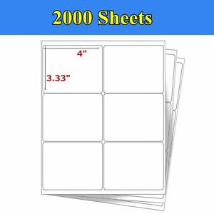 12000 Label 2000 Sheet 4 x3 1 3 Address Shipping Self Adhesive Labels 6 Up