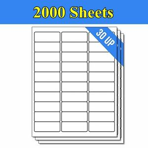 60000 Label 2000 Sheets 1 X 2 5 8 Shipping Adhesive Labels 2 625 X 1 30 Up