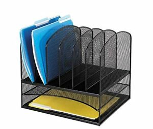 Safco Products 3255bl Onyx Mesh Desktop Organizer With 6 Vertical 2 Horizontal