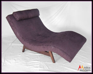60s Mid Century Modern Adrian Pearsall Plum Purple Wave Lounge Chair New Fabric