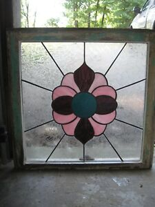 Stained Glass Window Vintage Salvage Frame Farmhouse Shabby Chic Cottage 24 X 24
