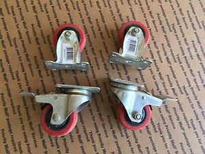 Set Of 4 3 Rigid And Break Polyuretane Cast Wheels Wheel Caster Heavy Duty Red