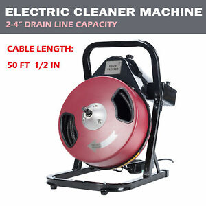 Electric Drain Cleaner Drum Auger Snake 1 2 Inch By 50 Feet With Built in Gfci