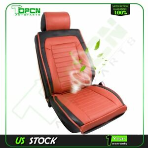 Car Vehicle Pad Pu Leather Seat Cooler Cushion Cover Summer Cooling Chair Brown