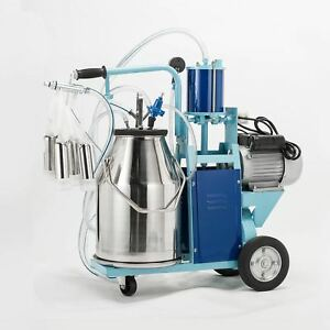 25l Electric Milker Milking Machine For Goats Cows W bucket 2 Plug 12cows hour