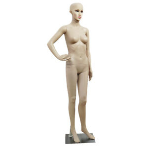 Female Full Body Realistic Mannequin Display Head Turns Dress Form Plastic