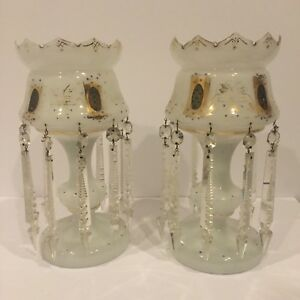 Pair Of White Opaline Lustres 13 5