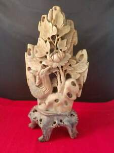 Finely Hand Carved Vintage Antique Chinese Soapstone Bird Flower Rock 4 5x9 5