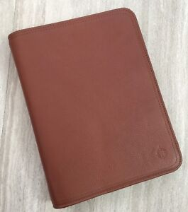 Franklin Covey Pebbled Leather Zip Planner Classic 7 ring Brown Unstructured