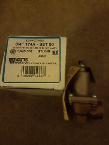 New Watts 174a Set 90 Asme Water Pressure Safety Relief Valve 3 4