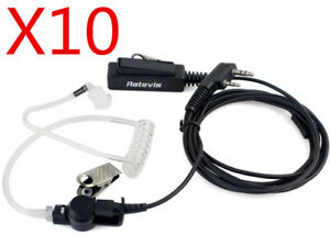 10pcs Earpiece Mic 2pin For Kenwood Quansheng Tyt Hyt Baofeng 2way Radio