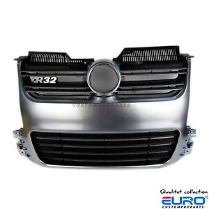 Euro Style Car Front Aluminium Matte Silver Grille Fit For 06 09 Mk5 Vw Golf R32