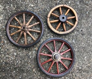 Antique Small Cart 10 12 Wagon Wheel Lot Handmade Wood Iron Primitive Vintage