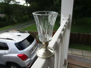 Vintage La Pierre Weighted 8 Sterling Silver Candle Holder With Glass Topper