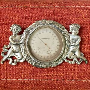Antique Sterling Silver Ornate Desk Thermometer Frame Putti Sheibler Rand Crane