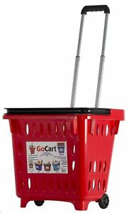 Dbest Products Gocart Red Grocery Shopping Basket Rolling Laundry Cart New