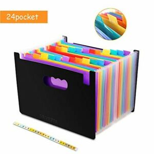 24 Pockets Colored Expanding File Folder With Labels A4 Document Organizer Bag