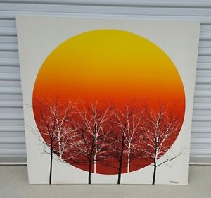 Mid Century Modern Red Moon And Trees Fabric Painting Signed Tamarack