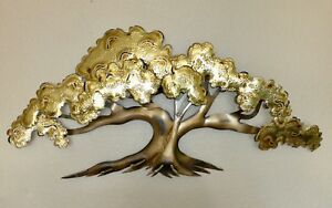 Mid Century Modern Vintage Large Metal Art Wall Hanging Sculpture Tree Of Life