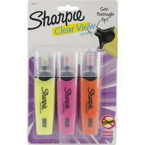 Sharpie Clear View Highlighters 3 pkg Yellow Pink Orange Lot Of 10