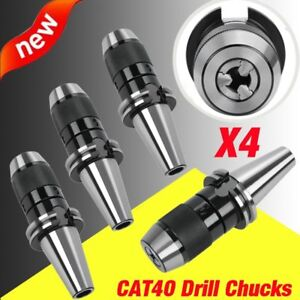 4pcs Cat40 Drill Chuck 1 2 Fits On Haas Cnc Spindle Hardened Keyless New Max