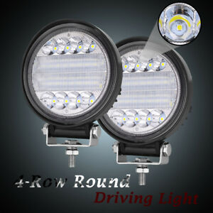 Off Road Cree Quad Row Round Led Driving Work Light Spot Flood Combo 4 5 144w