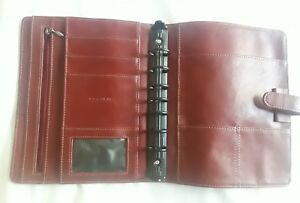 Classic 7 1 1 8 Unstructured Sim Red Leather Planner Open Day timer Franklin