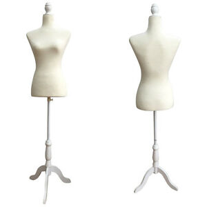 New White Female Mannequin Torso Dress Form Display W Tripod Stand Size 36