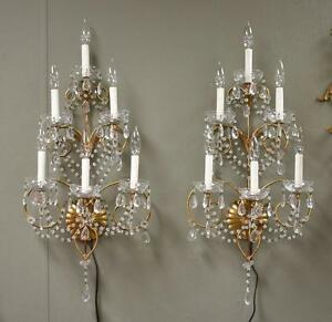Pair Italian Six Light Crystal Wall Sconces Gold Tone Finish 29 Tall