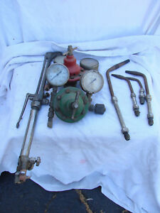 Vintage Lot Smith s Lifetime Oxy acetylene Cutting Torch Gauges Tips Welding