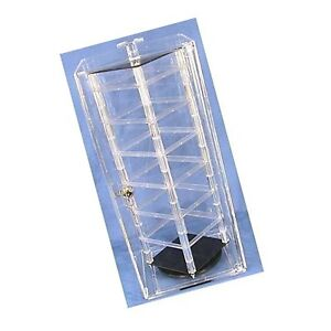 Locking Revolving Rotating Earrings Display Case Stand Holds 48 2 Cards