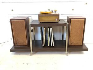 Vintage 70s Mid Century Modern Rolling Record Plant Stand End Table Shelf Cart