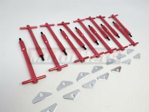 Bbc Chevy Red Tall T Bar Valve Cover Hold Down Kit Bbc 396 454 Bolts Mini Tabs
