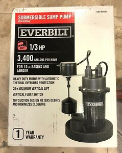 Everbilt 1 3 Hp Submersible Water Sump Pump New Sealed