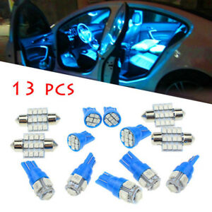 13pc Led Lights Interior Package Kit Pure Blue For Dome License Plate Lamp Bulb