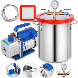 3cfm Vacuum Pump 3 Gallon Vacuum Chamber 110v Kit 60hz 1 4 Hp Stainless Steel