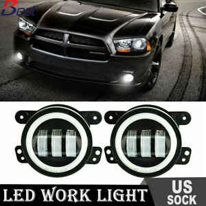 Cree 4 Round White Led Fog Lights Drl For Dodge Charger 2011 2018 Bumper