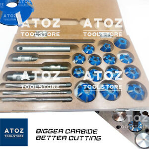 22x Set Carbide Tipped Valve Seat Face Cutters 30 45 70 20 Deg Guides Reamer