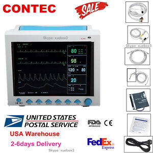Hot Sale Contec 12 1 Multi Parameter Patient Monitor Spo2 Pr Ecg Nibp Resp Temp