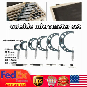 Precision Outside Micrometer Set Carbide Standards 6pcs set New New
