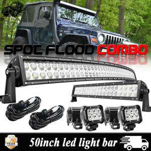 Jeep Wrangler Grand Cherokee 50 Curved Led Light Bar Upper 20 22 4 18w Pods