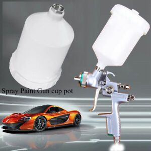 600ml Gravity Spray Gun Plastic Cup Paint Pot Threaded For Devilbiss Replacement