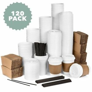 Average Joe 120 Pack 12 Oz Disposable Hot Paper Coffee Cups Lids Sleeves