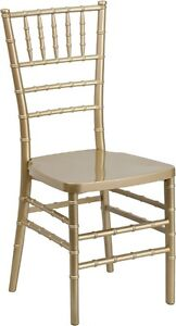 Gold Resin Stacking Chiavari Chair Commercial Quality Stackable Wedding Chair