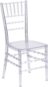 Crystal Clear Resin Chiavari Chair Commercial Quality Stackable Wedding Chair