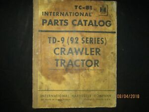 Ih International Harvester Td 9 92 Series Crawler Tractor Parts Catalog Manual